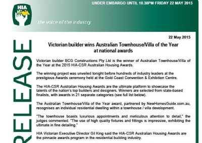 2015 HIA Australian Housing Awards – Townhouse Villa
