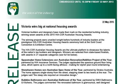 2015 Australian Housing Awards Media Release